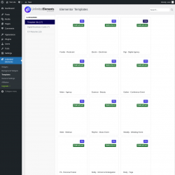 Page screenshot: Unlimited Elements → Templates