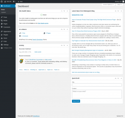 Page screenshot: Dashboard ‹ Test site — WordPress