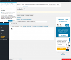 Page screenshot: Wordfence 0 → Blocking
