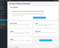 Page screenshot: Hustle → Custom Content
