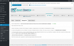 Page screenshot: Asset CleanUp → Tools → Storage Info