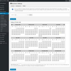 Page screenshot: WP BASE → Business Settings → Holidays