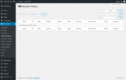 Page screenshot: WP BASE → Payment History