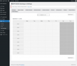 Page screenshot: Users → Your Bookings → Weekly Schedule