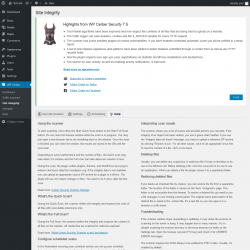 Page screenshot: WP Cerber → Site Integrity →  Help