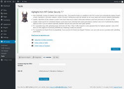 Page screenshot: WP Cerber → Tools →  License