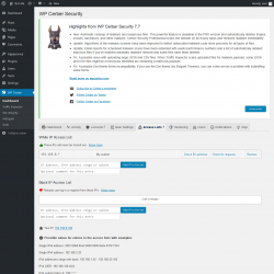Page screenshot: WP Cerber →  Access Lists 1