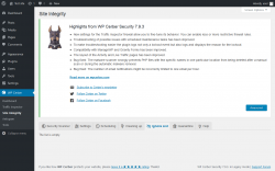 Page screenshot: WP Cerber → Site Integrity →  Ignore List