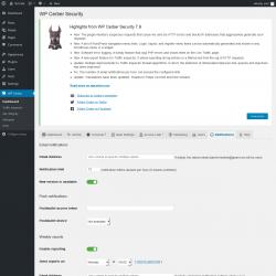 Page screenshot: WP Cerber →  Notifications