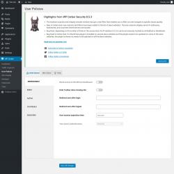 Page screenshot: WP Cerber → User Policies