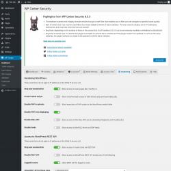 Page screenshot: WP Cerber →  Hardening