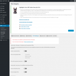 Page screenshot: WP Cerber → Site Integrity →  Cleaning up