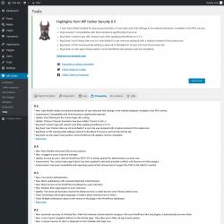 Page screenshot: WP Cerber → Tools →  Changelog