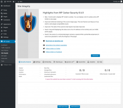 Page screenshot: WP Cerber → Site Integrity