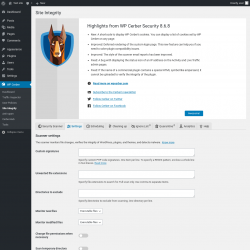 Page screenshot: WP Cerber → Site Integrity →  Settings