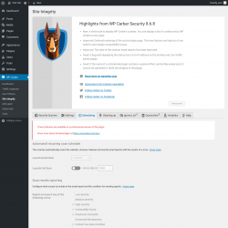 Page screenshot: WP Cerber → Site Integrity →  Scheduling