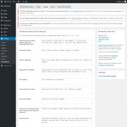 Page screenshot: Settings → WP-Members → Dialogs