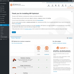 Page screenshot: WP-Optimize → Premium Upgrade
