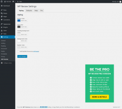 Page screenshot: Settings  → WP Review → Pro