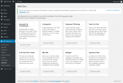 Page screenshot: RSS Aggregator → Add-Ons