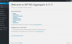 Page screenshot: Welcome to WP RSS Aggregator ‹ Test site — WordPress