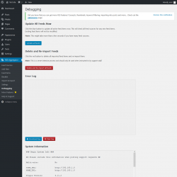 Page screenshot: RSS Aggregator → Debugging