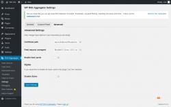 Page screenshot: RSS Aggregator → Settings → Advanced