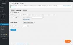 Page screenshot: RSS Aggregator → Settings → Custom Feed