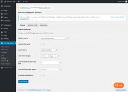 Page screenshot: RSS Aggregator → Settings