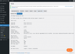 Page screenshot: RSS Aggregator → Tools →                  System Info
