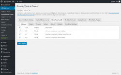 Page screenshot: Audit Log → Enable/Disable Events → WordPress Install