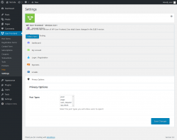 Page screenshot: User Frontend → Settings →  Privacy Options