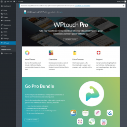 Page screenshot: WPtouch → Upgrade to Pro