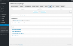 Page screenshot: WPvivid Backup → Settings → Logs
